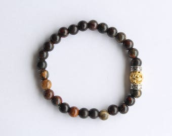 Men's Bracelet, Red Creek Jasper with Gold Bali Bead