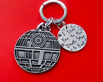 Star wars gift etsy hand stamped death star key chain love you to death star back star negle Gallery