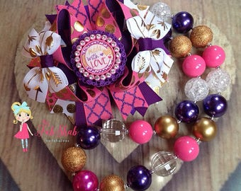Made with Love OTT Bow Purple, Pink, and gold Necklace Set