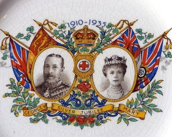 Rare, Set Six Tea plates commemorating the Silver Jubilee of King George V and Mary 1910-1935