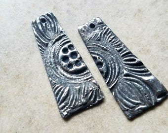 1-hole Long Tinned Copper Charms - 1 pair