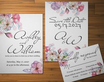 Personalized invitation suite Digital invite Printable set Floral template Personalized Spring wedding invite Watercolor bouquet invitation