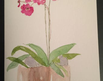 Orchid Plant/Handpainted Watercolor Greeting Card