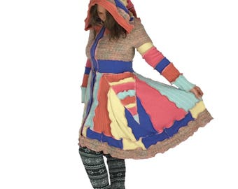 """Reanimated Hooded Sweater Jacket - """"Carnival"""" - XS-S - Upcycled Sweater Coat - Recycled Sweater Coat"""