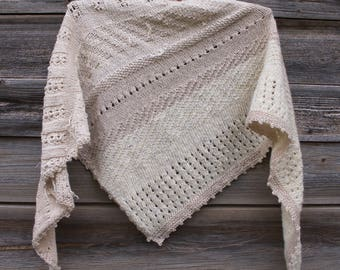 Winter Bactus, Shawl, Pure Merino Wool, Tweed and Cotton, Women's/Men's Accessory, Natural Thread, Natural Yarn, Warm Shawl