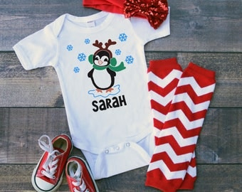 Personalized Penguin With Scarf and Antlers Add Name Baby Bodysuit Toddler Tee Shirt Holiday Christmas Baby Shower Winter Season Original