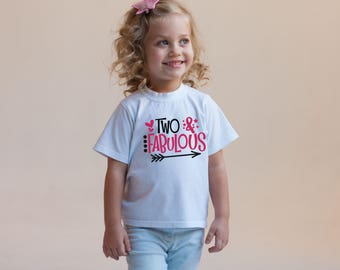 Two & Fabulous Funny Children's Bodysuit Creeper T-Shirt for Baby Boy Girl Unisex Toddler Kid 2nd Second Gift Idea Present Birthday Humor