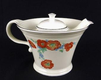 Hall Teapot/Melody Orange Poppy/Ceramic Teapot/Art Deco Teapot/Kitchen Decor/Hall Pottery/Collectible Teapot/Hall Kitchenware/1940's/Vintage