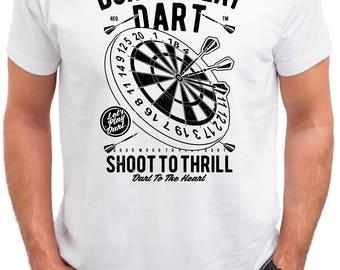 Born to play dart. Men's white cotton t-shirt