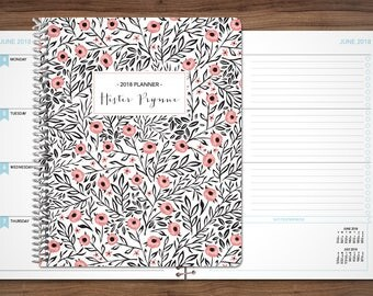 2018 planner custom 2018 2019 | 12 month planner |  student planner HORIZONTAL LAYOUT weekly calendar agenda daytimer / white pink floral