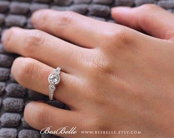 1.12 ct.tw Art Deco Three Stone Ring-Brilliant Cut Diamond Simulant-Bezel Set Engagement Ring-Anniversary Ring-Sterling Silver [4251]