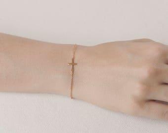 Sideways Cross Bracelet - Rose Gold Cross Bracelet - Dainty Cross Bracelet - Cross Chain Bracelet - Celebrity Bracelet -Small Cross Bracelet