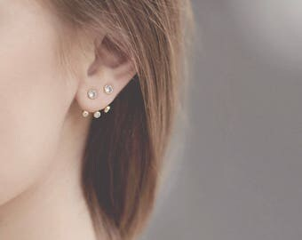 Ear Jacket Earrings, Ear Crawler, Dainty Ear Jacket, Cz Front Back Earrings, Dainty Stud Earring, Earring Jacket Sterling Gold