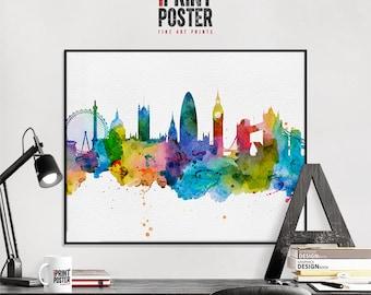London art print, London poster, London wall art, London skyline watercolour print, travel poster, home decor, gift, iPrintPoster