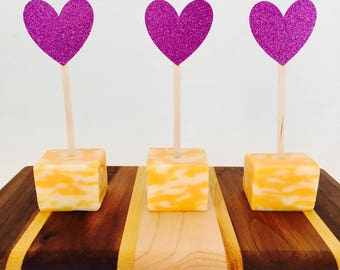 15 Glitter Heart Appetizer Picks - Food Picks - Valentine's Day - Birthday Party - Wedding - Happy Hour - Baby Shower - Bridal Shower