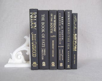 Black Decorative Books Set, Book Bundle, Home Staging, Wedding Centerpiece, Black Decor, Designer Colors, Gold Titles, Books by Color