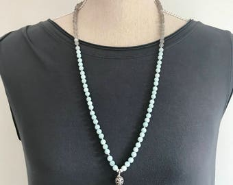 Unisex Grey Moonstone and Amazonite 108 Mala Necklace /  Smaller Knotted Mala Beads / Yoga Necklace / Meditation Beads  / Gifts for Wife