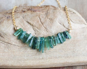 Blue Green Tourmaline Necklace on Gold, Raw Blue Tourmaline Necklace, October Birthstone, Rough Tourmaline Jewelry, Healing Crystals