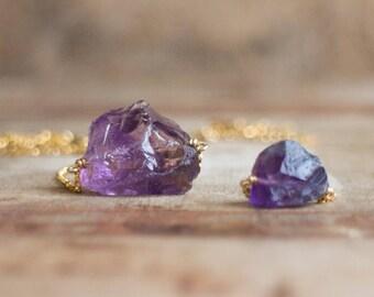 Raw Amethyst Necklace, Gold Amethyst Necklace, Amethyst Necklace, February Birthstone, Raw Crystal Necklace, Raw Stone Necklace