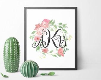 Personalized nursery monogram printable, Custom monogram print, Baby girl nursery initial print, Floral wreath, Floral monogram decor, 8x10