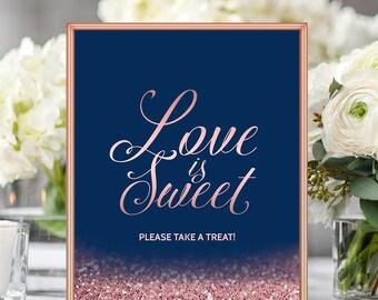 Love Is Sweet Please Take A Treat Wedding Sign Navy Blush Wedding Decor Candy Bar Buffet Dessert Table Navy Blue Rose Gold Wedding 8x10