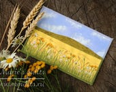 Fabric Postcard -Yellow Landscape Postcard -Quilted Postcard -Greeting Card -Wheat Field - Fiber Art - Textile Art - Daisy Field- Mini Quilt