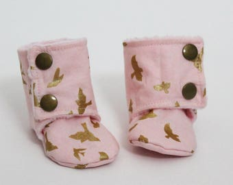 Kids slippers, Baby booties, Blush Pink, Metallic gold birds, Stay-on boots, Minky, Cotton, Toddler, Warm and Cozy, Girly, Cute gift idea