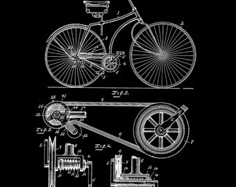 C D Rice Bicycle Patent # 425390 dated April 8, 1890. Several Sizes and several background colors.