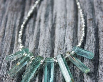 Raw Core Sample Aquamarine Necklace with Thai Hill Tribe Silver Beads