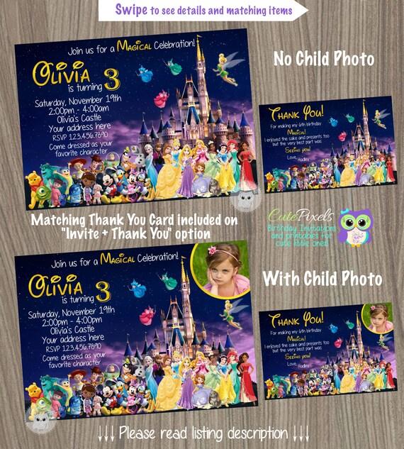 Disney Castle Invitation, Disney Characters Invitation