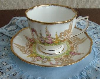 "Royal Albert Crown China England ""Greenways"" - Vintage Tea Cup and Saucer - Garden Scene"