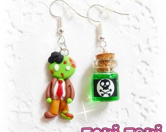 Zombie Earrings, Polymer Clay Zombie, Creepy Earrings, Zombie Jewelry, Halloween Earrings, Cute Zombie, Cute Earrings, Cute Jewelry, OOAK