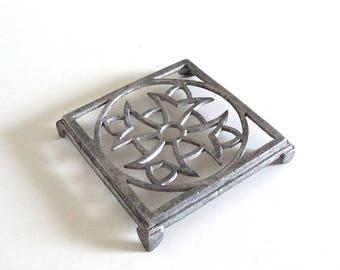 Vintage Art Deco Trivet - French Antique Metal Aluminum Table Mat