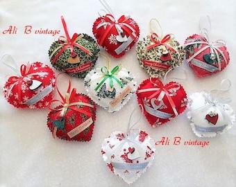 christmas tree fabric heart decorations christmas tree decoration christmas hearts vintage style hearts christmas tree decorations