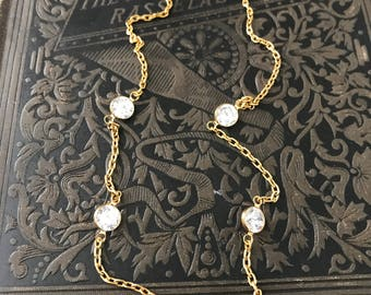 Vintage Gold Plated Cubic Zirconia Five Station by the yard Necklace