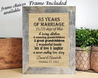 FRAMED 65th Wedding Anniversary Gift/65th Anniversary Gifts/65 years of marriage/Anniversary gift for parents/Gift for him/Gift for her
