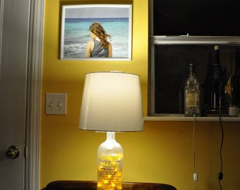 Absolut Vodka Citron Liquor Bottle Table Accent Lamp With Yellow LED Lights Medium Base Socket And Thumbwheel Switch