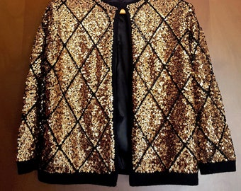 Authentic Vintage Cardigan wool angora 50 Years embroidered with beads and sequins size M