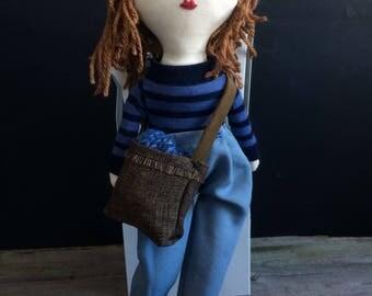 Hipster doll / Primitive rag doll / Linen doll / Ooak doll / Handmade doll / Art doll / Hipster decor / Kid room