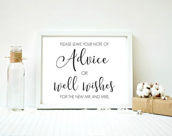Wedding advice sign, Advice for mr and mrs, Advice wedding print, Printable wedding signs, Outdoor wedding diy Good wishes sign New marriage