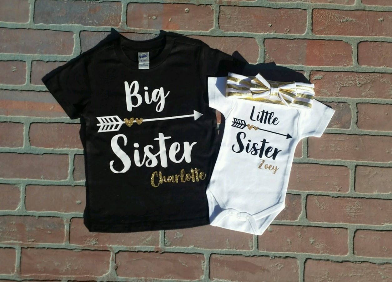 e479875274fd8 Personalized Glitter Big Sister, Little Sister Shirt / Onesie with Headband  set