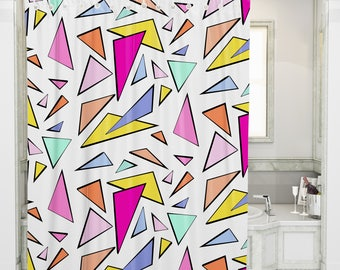 Geometric Shower Curtain , Triangle Shower Curtain , Cool Shower Curtains , Bathtub Curtain , Bathroom Remodel , Bathroom Decor , Triangles