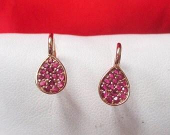 14K Rose Gold Diamond Cut Ruby Dangle Earrings