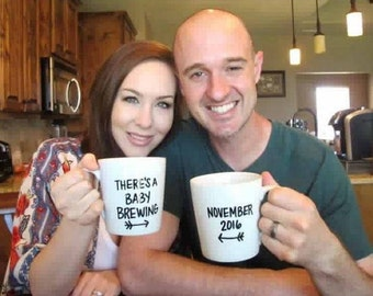 There's A Baby Brewing MUG SET | Mom and Dad To Be Mug Set | Pregnancy Announcement | Pregnancy Reveal | Baby Announcement Mugs