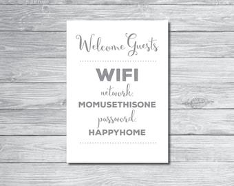 Custom wifi password printable, wifi password art, printable wifi password
