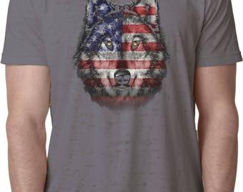 Men's USA Wolf Burnout Tee T-Shirt 20979D1-NL6110
