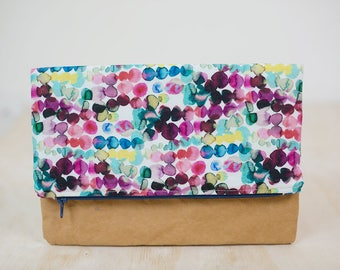 Watercolour spot clutch. Foldover clutch. Washable paper clutch purse. Bridesmaid clutch. Large zipper pouch. Vegan Leather. Bridesmaid gift