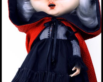 "Little Dark Riding Hood  ""Dark"" - OOAK custom Blythe (fake)"