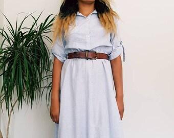Vintage pinstripe summer dress - cotton summer dress size UK 10