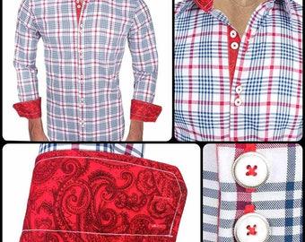 Red Plaid Men's Designer Dress Shirt - Made To Order in USA